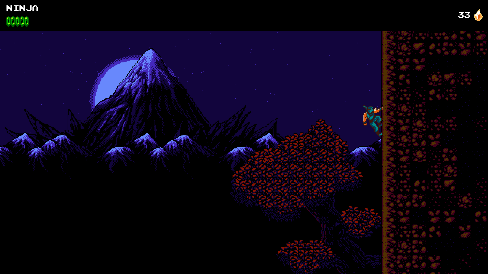 The Ninja climbing up a cliff wall in front of the moon and mountains.